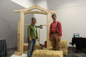 Live demo of straw-bale wall construction with Tina and Deni of Camel's Back Construction at Ottawa Convention Centre