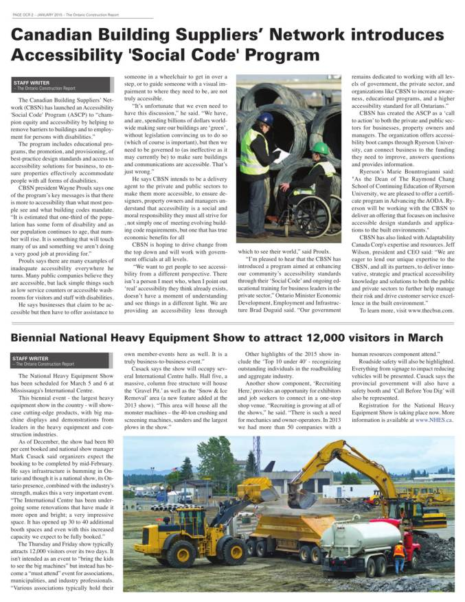 Ontario Construction Report