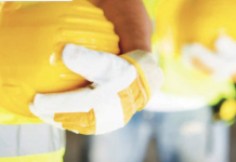 yellow hard hats stock image