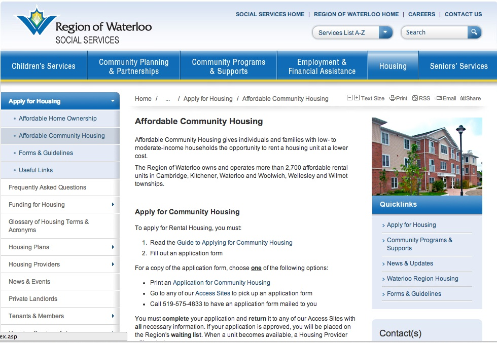 affordable housing kitchener