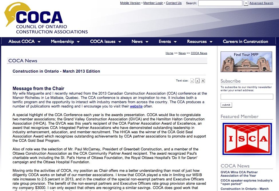 COCA newsletter